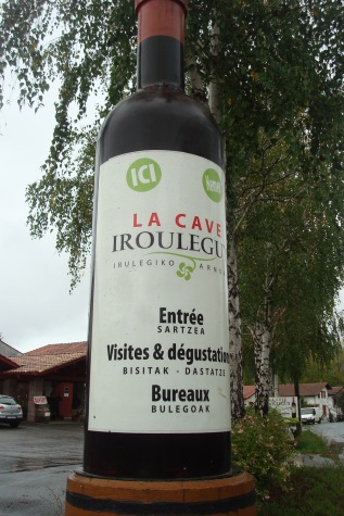 Irouleguy Wine Bottle outside of cooperative