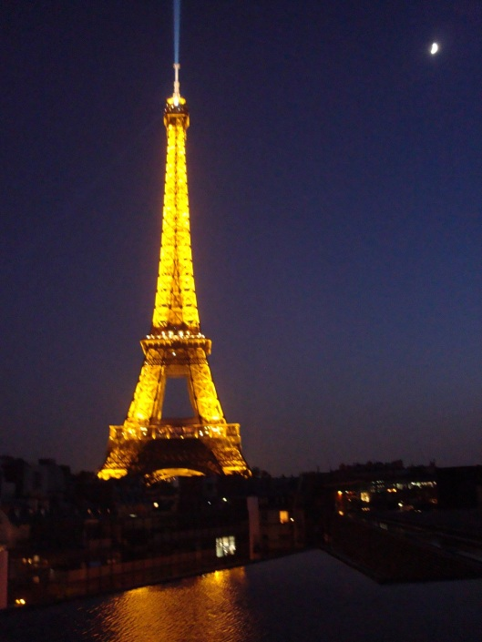 A view from Les Ombres of the Eiffel Tower at night