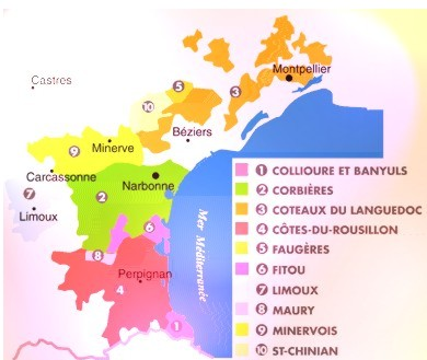 Map of wine region